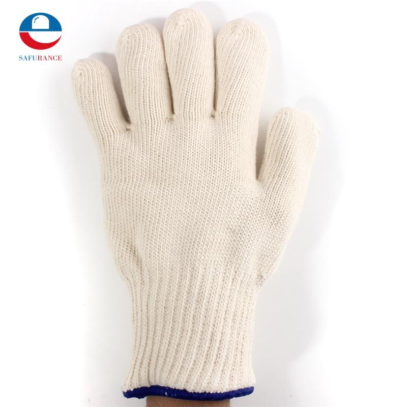 1pcs Thicken Double Cotton 450 Celsius High Quality Super Heat Resistant Anti Burn Heatproof Gloves Oven Kitchen White 1 double cotton gloves white green