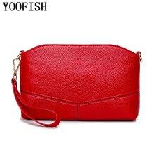 YOOFISH  Fashion Candy Color Women Messenger Bag Envelope Clutch Purse Casual Bags Vintage PU Leather Woman Shoulder