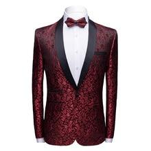Men Blazer Fashion Printed Mens Casual Suit Stylish Luxury Brand Lapel Wedding Dress Suit Coats Singer DJ Stage Party floral printed lapel mens casual blazer