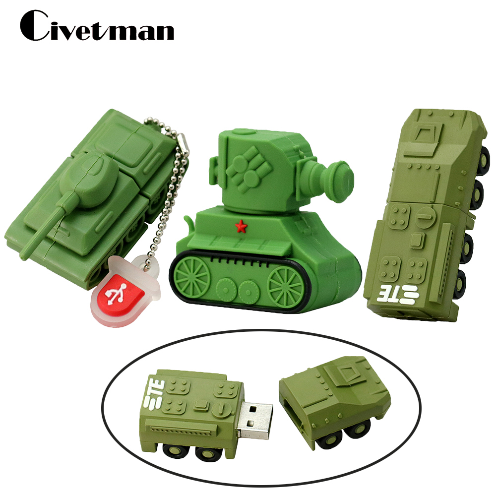 Pen Drive Cartoon USB Flash Drive 4GB 8GB16GB 32GB 64GB 128GB Tanque Memory Stick Thumb Drive Flash Memory Pendrive Regalos