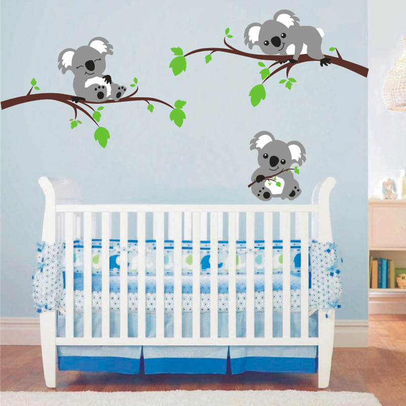 Three Cute Koala Lying On The Branches Wall Decal Vinyl Sticker Home Decor Baby Nursery Bedroom Art Decals DIY Removable Sticker