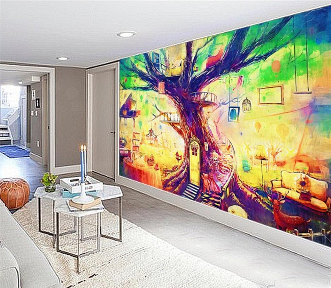 Pintura De Parede Pintura Mural Sala TV Papel Parede 3d Estéreo árvores  Pintado Murais árvore De Casa Em Pintura U0026 Caligrafia De Home U0026 Garden No  ... Part 29