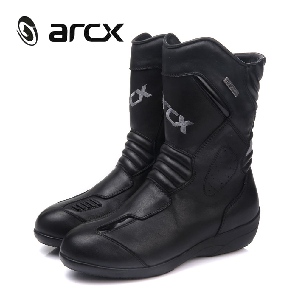 ARCX Women Motorcycle Boots Genuine Cow Leather Waterproof Moto Racing Boots Motorcross Boots Black Motorbike Boots riding tribe motorcycle waterproof boots pu leather rain botas racing professional speed racing botte motorcross motorbike boots