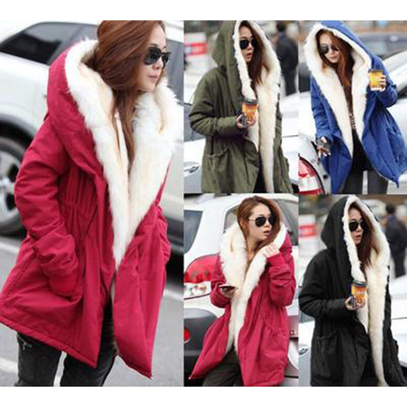 Hot sale 2017 Winter warm Jacket Women Hooded Large Fur Collar Cotton Padded Coats Female Slim parka Overcoat S XL