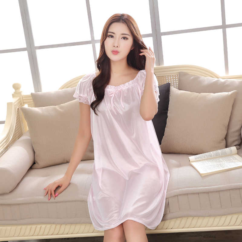 67ee48579fd ... Sexy Lace Large size Bust 125CM Women Sleep Wears Short-sleeved  Nightgown Slim Girl Casual ...