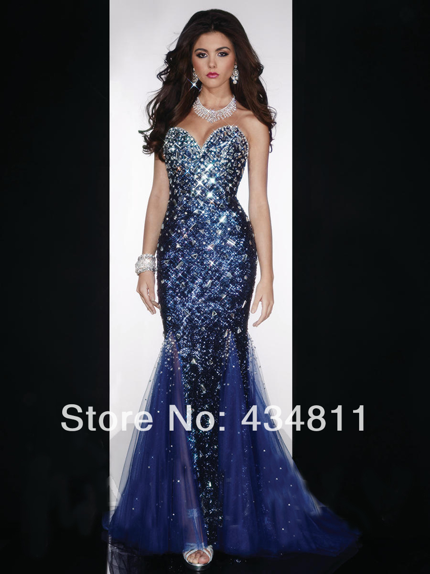 Sparkly Sweetheart Neckline Sleeveless Beaded/Sequined Royal Blue ...