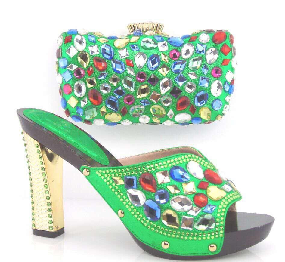 ФОТО Nigeria Matching Shoes And Bags For African Party Fashion Italian Shoes And Matching Bag Set With Rhinestones High Quality TT02