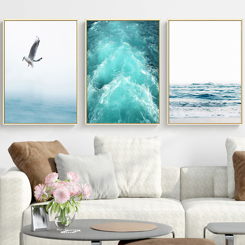 Gohipang Blue Sea And Sky Nordic Landscape Canvas Painting Free Seagull Waves Beach Art Poster Living Room Decor Seabirds Wall