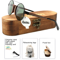 Ablibi Walnut Wooden Lennon Sunglasses Women Polarized Small Size Funny Unique Bamboo Wooden Shade for Women in Wood Box