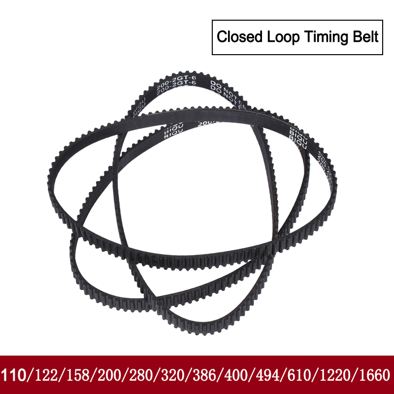 1 96mm GT2 each 2 pieces depending on size closed timing belt 9 mm wide