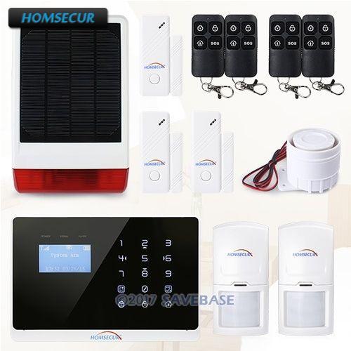 HOMSECUR APP contrôlée sans fil GSM système d'alarme antivol à domicile sirène stroboscopique à énergie solaire Menu anglais et français réglable