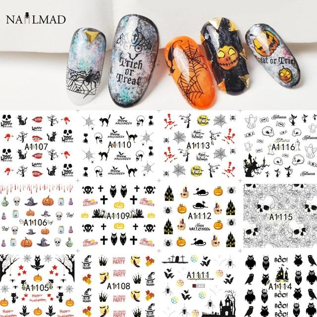 12 patrones/hoja de Halloween nail Water Decals flores transferencia ...