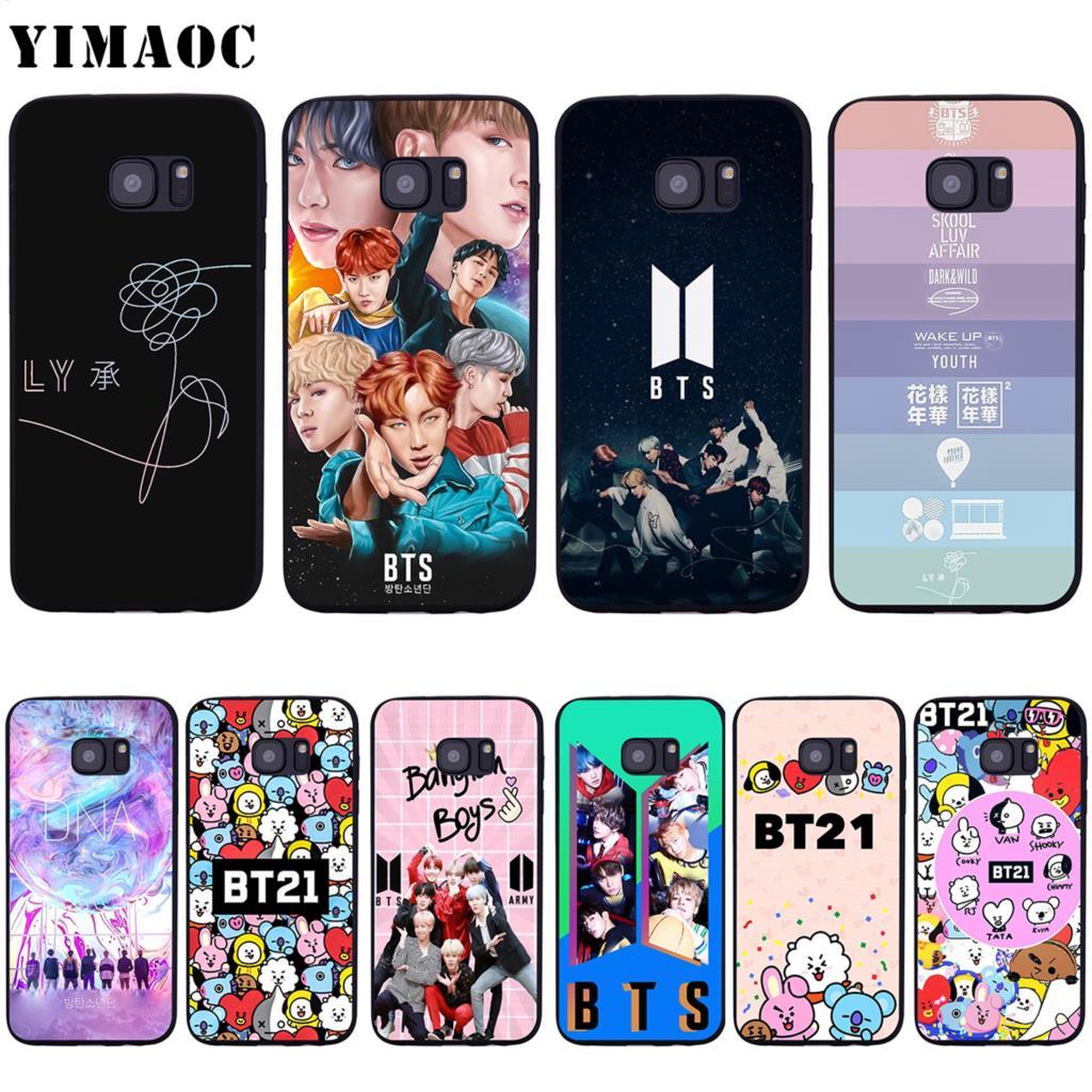 YIMAOC BTS BT21 Bangtan Boys Soft Silicone Case for Samsung Galaxy S6 S7 Edge S8 S9 Plus A3 A5 2016 2017
