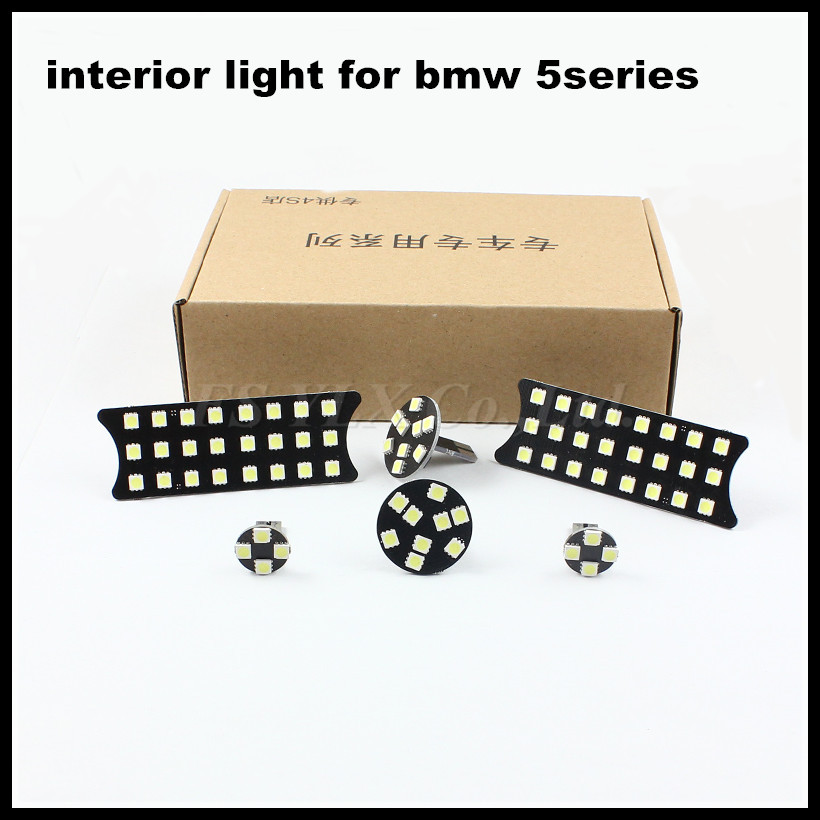 FSYLX 6pcs/set LED Dome Interior Map Lamp for bmw E60 E61 5series canbus White Car LED Reading Light For BMW 5 series E60 E61 cawanerl car canbus led package kit 2835 smd white interior dome map cargo license plate light for audi tt tts 8j 2007 2012
