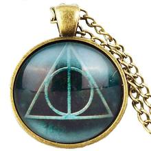 4 colors movie Potter Fans Gift Always Deathly Hallows Glass Necklace Fashion Pendant Necklace Triangle Necklace For Mens Womens(China)
