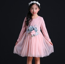 Long Sleeve Dress Girl Christmas 2018 New Autumn Winter Floral Print Toddler Dresses Kids Clothes Children