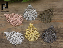BASEHOME 10Pcs/lot 35x48mm Silver Tone Filigree Wraps Flower Connectors Metal Crafts Gift Decoration DIY Findings(China)