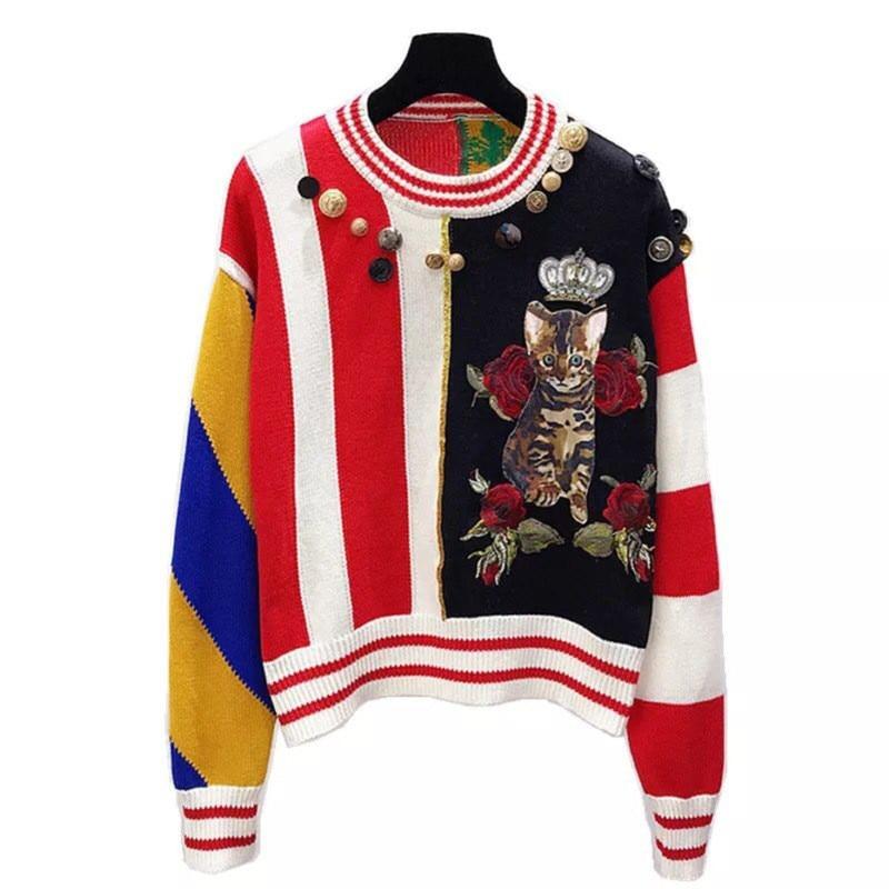 2018 Luxury Brand Autumn Winter Stitching Sweaters Pullovers Knitted Women Christmas Runway Cat Diamond Jumper Ladies