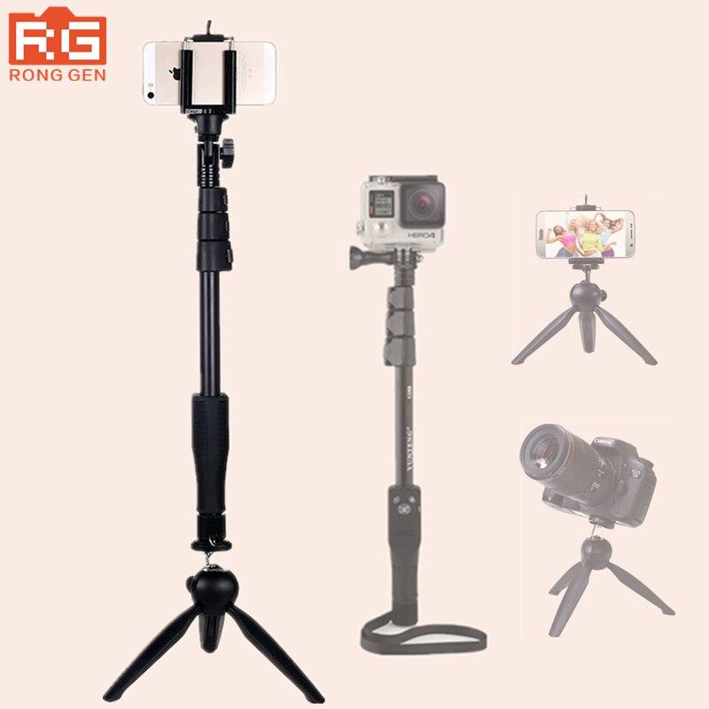 Stativ 4 in 1 bluetooth tragbare ausziehbare handheld selfie stick yunteng 1288 einbeinstativ & yunteng 228 mini stativ für mobile telefon