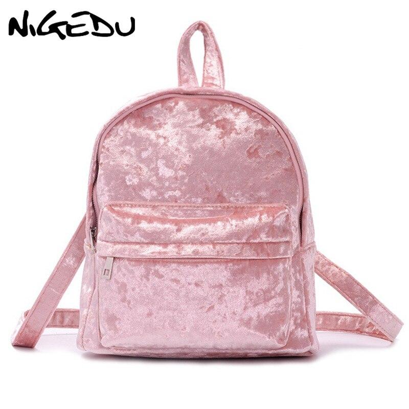 High Quality Soft Velvet Women Backpack Pink School Bag For Girls Teenagers Daypack Female Travel Backpack Autumn New Bag Bolsa