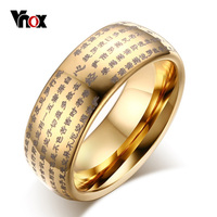 Vnox 8MM Buddhist Scriptures Rings For Women Men Jewelry 18K Gold Plated Tungsten Carbide Rings Fit
