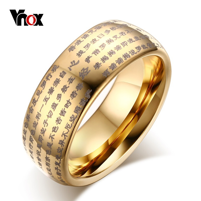 все цены на Vnox Engraved Chinese Buddhist Texts Tungsten Ring for Men Religions Lucky Jewelry Dropshipping