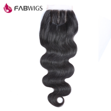 Fabwigs 5×5 Lace Closure Brazilian Body Wave Bleached Knots Human Hair Closure Remy Hair Free Shipping