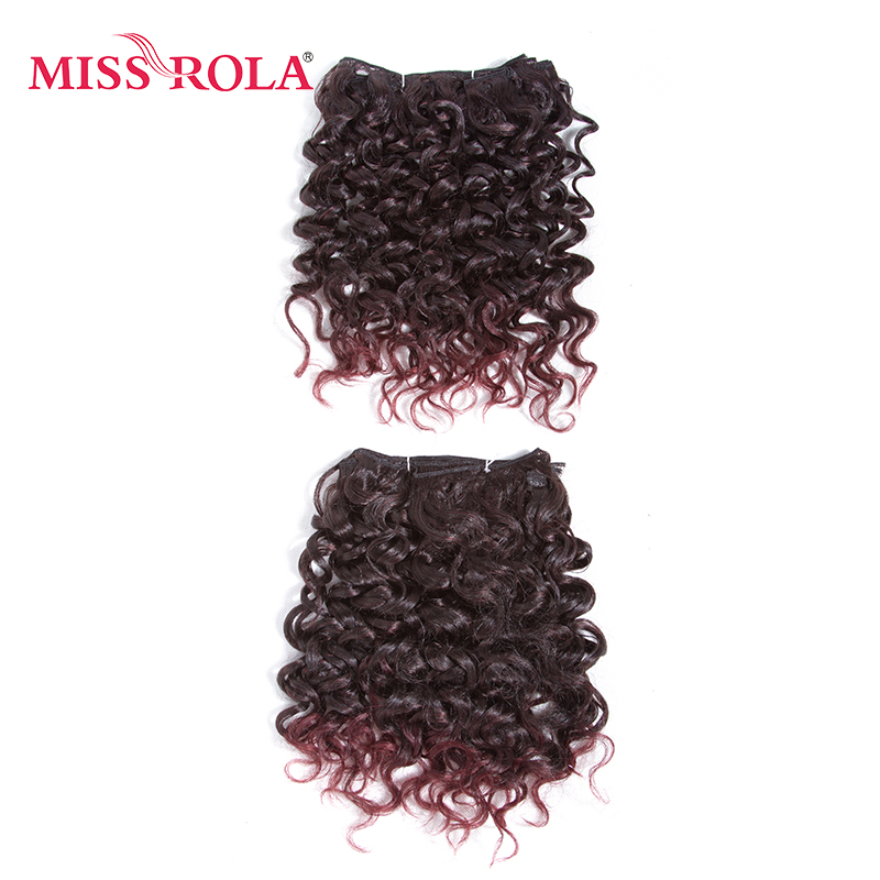 Miss Rola 10inch Synthetic Curly Hair Weave 2Pcs/Pack Medium Short Hair Extensions T2/99J Kanekalon Ombre Hair 6 Colors