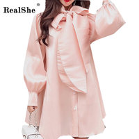 RealShe Candy Tie Neck Bow Lantern Sleeve Loose Dress Women Stand Collar Long Sleeve Sweet Short