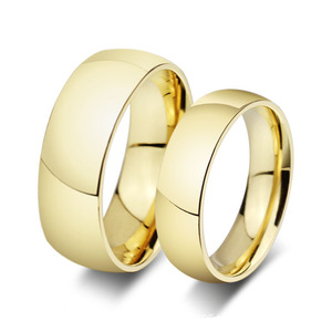Stainless steel ring gold-color couple rings women men anillos wedding engagement rings aliancas de casamento joias ouro