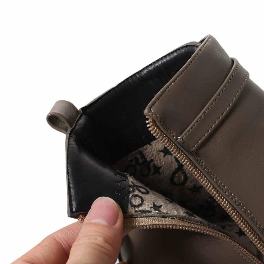 ESVEVA 2019 Kadın Ayakkabı Med Topuklu Zip PU Deri Çizmeler yarım çizmeler Yuvarlak Ayak Toka Kare Topuklu Çizmeler Bayan Ayakkabı Boyutu 34-43