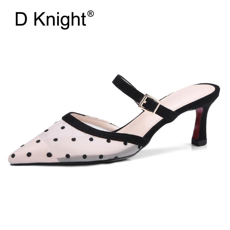 2018 Summer Elegant Lace Mesh Sandals Polka Dot Pointed Toe Gladiator Shoes Woman High Heels Big Size 34 43 Black Footwear Woman