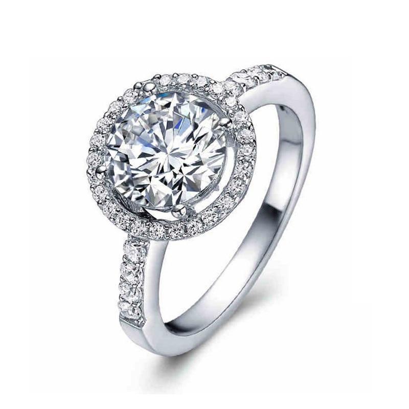 solid 925 Sterling Silver Halo Ring gul rosa för kvinnor Bröllop - Märkessmycken - Foto 6
