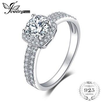 0e8fbb727909 Joyeria Palacio Halo 925 CT circonita cúbica redonda anillo de compromiso  anillo de plata de ley genuino para mujeres joyería de moda