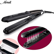 Big discount Steam Function Flat Iron Tourmaline Ceramic Vapor Professional Hair Straightener Straightening Irons EU/US/UK Plug