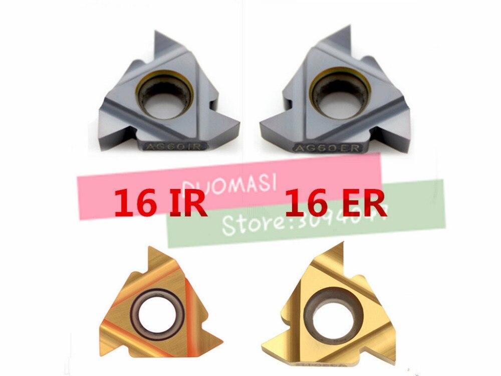 Купить с кэшбэком 10pcs 16ER AG60/16ER AG55/16IR AG55/16IR AG60 Carbide Threading Inserts 55/60 degree Threading Lathe Inserts for Lathe Tool