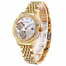 BINLUN Women's 18K Gold Automatic Mechanical Watch Diamond Waterproof Luxury Flower Dial Luminous Analog Wrist Watches for Women