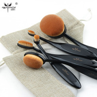All Black 5pcs Oval Makeup Brush Professional Foundation Makeup Brush Set MULTIPURPOSE Powder Eye Shadow Brush