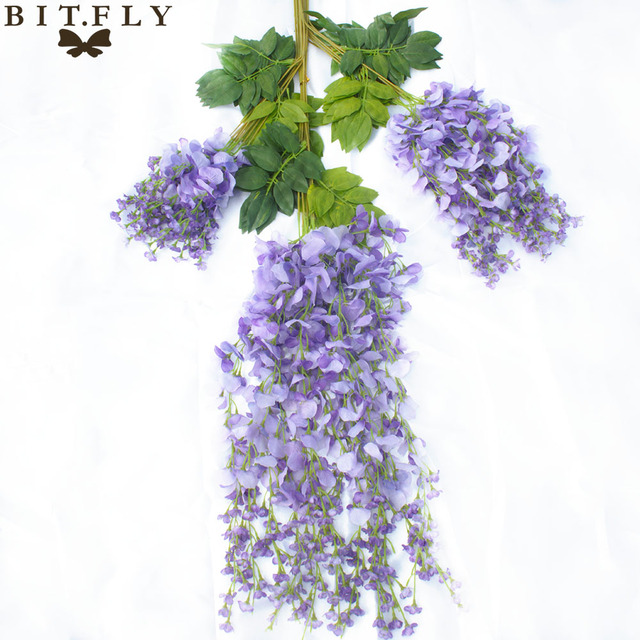 12pcs Artificial Wisteria Simulation Hanging Silk Flowers Wreaths