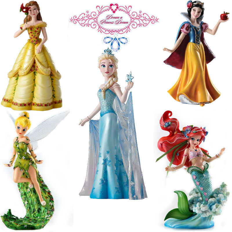 5pcs/set Princess Showcase Ariel Belle Snow White Figurine model toy figure