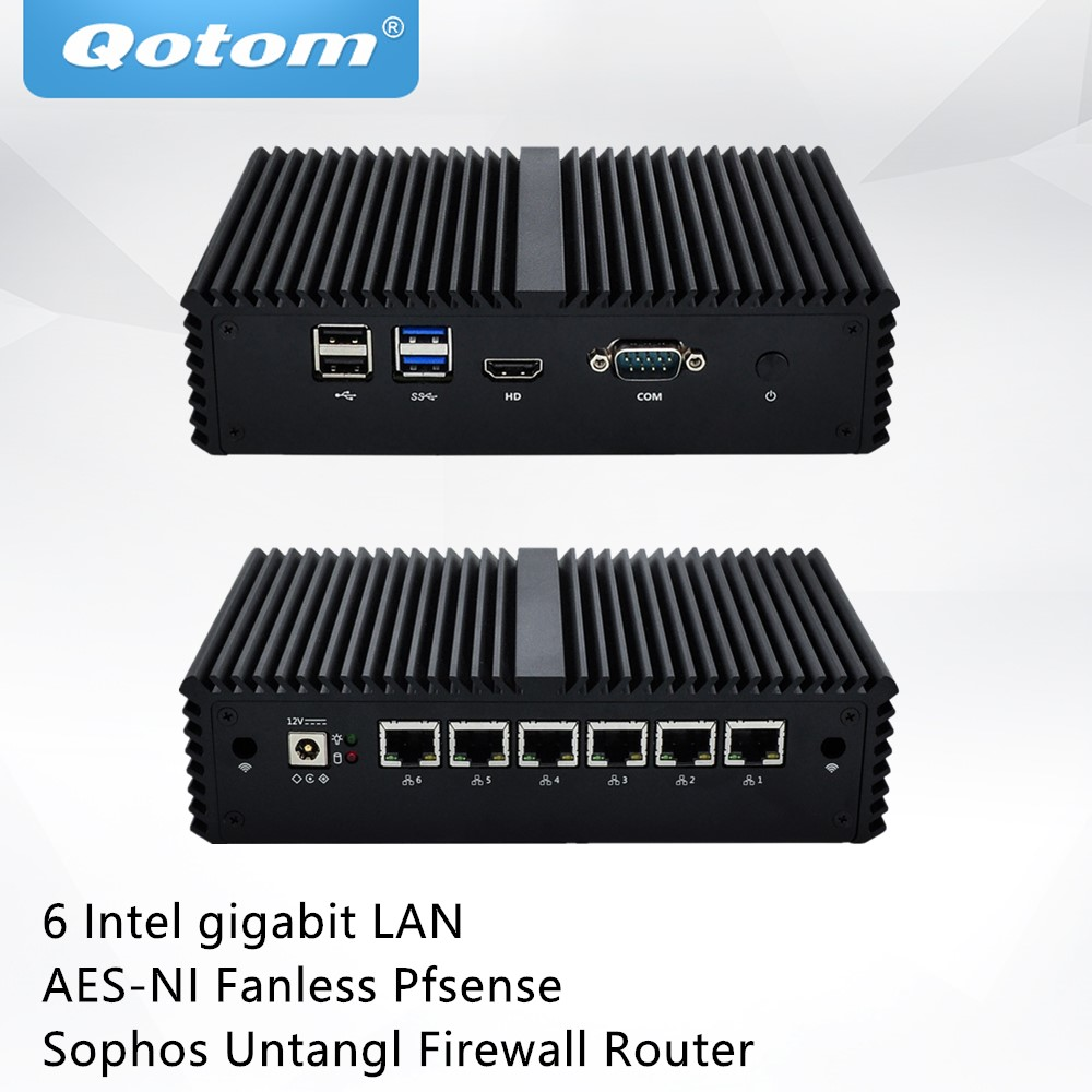 QOTOM Pfsense Mini PC with celeron 3855U 3865U processor and 6 Gigabit NICs Serial Fanless Mini