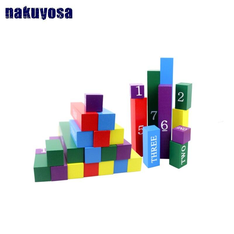 Mathématiques Montessori matériel d'apprentissage blocs en bois jouets enfance jouets éducatifs en bois