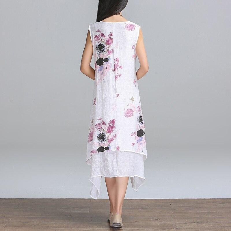 Новая мода летний стиль хлопок белье плюс размер винтаж печати женщины случайные свободные dress vestidos femininos партии 2017 платья