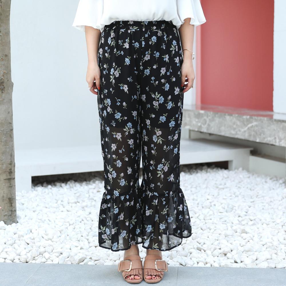 MINSUNDA Plus Size Elastic Waist Ruffle Hem Printed Pants Beach Summer Floral Chiffon Vacation Trousers Women Casual Plain Pants