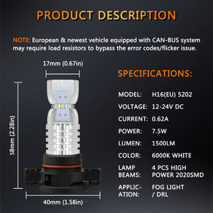Image 5 - 2PCS PSX24W LED H16 Fog Light H8 H11  H10 9145 HB3 9005 HB4 9006 2504 5202 LED Bulbs DRL Auto Lamp 1500LM 6000K White DC12 24V