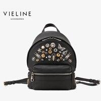 Vieline, Женщины Натуральная кожа аппликации рюкзак леди из натуральной кожи рюкзак, кожа школьный. Бесплатная доставка