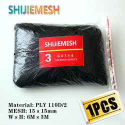 High Quality 6M x 3M 4 Pockets 15mm Hole Orchard Garden Anti Bird Polyester 110D/2 Knotted Mist Net 1pcs