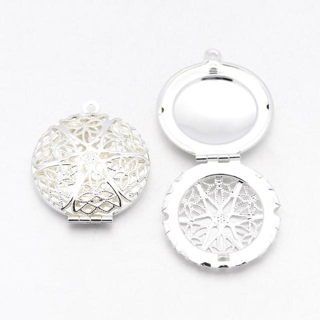 50pcs Brass Diffuser Locket Pendants, Photo Frame Charms for ...