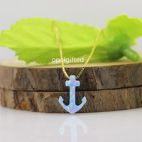 1PC Free Shipping 10*14mm Synthetic Opal Anchor Necklace Fashion Pendant Necklaces Women 925 Silver gold chain Trendy Jewelry