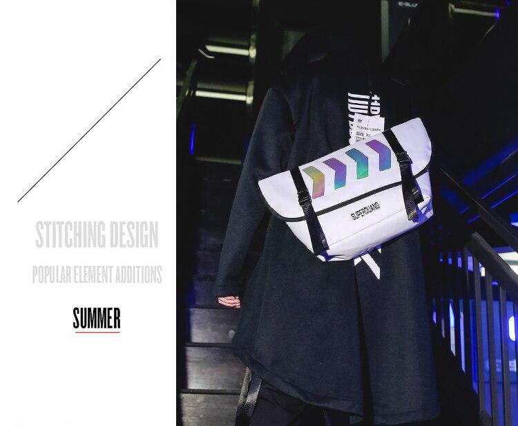 Bolsa de mensageiro masculina moda reflexiva sacos